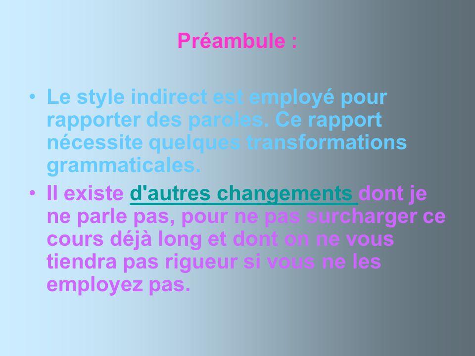 Préambule : Le style indirect est employé pour rapporter des paroles. Ce rapport nécessite quelques transformations grammaticales.