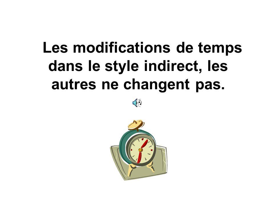 Les modifications de temps dans le style indirect, les autres ne changent pas.