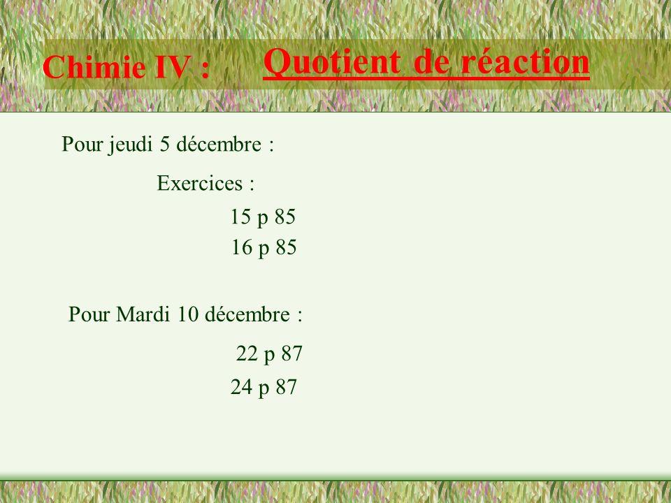 Quotient de réaction Chimie IV : Pour jeudi 5 décembre : Exercices :