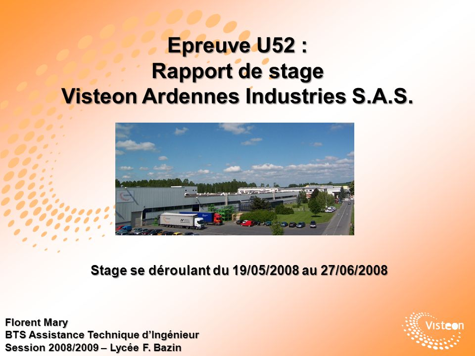 Epreuve U52 : Rapport de stage Visteon Ardennes Industries S.A.S.