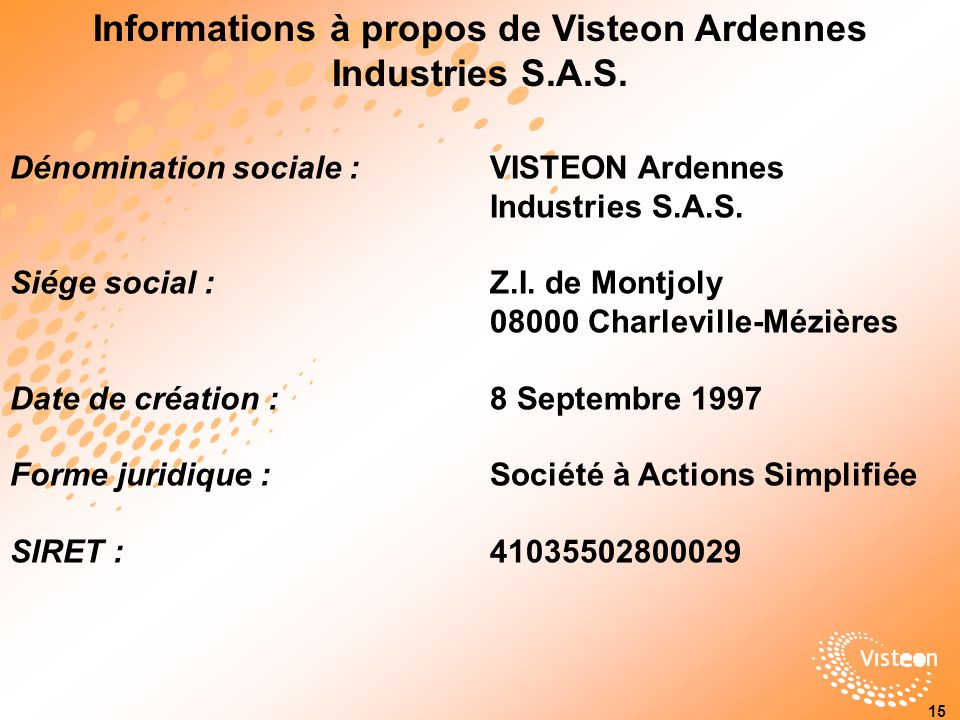 Informations à propos de Visteon Ardennes Industries S.A.S.