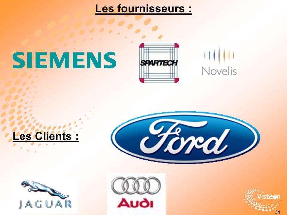 Les fournisseurs : Les Clients :