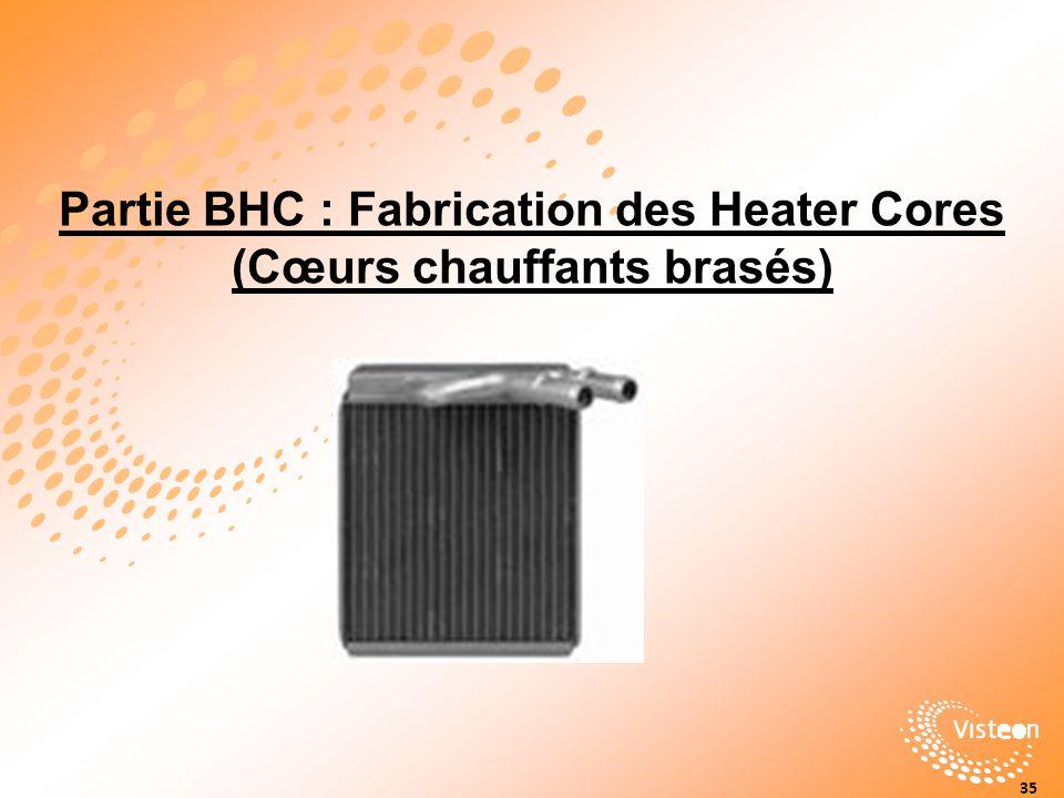 Partie BHC : Fabrication des Heater Cores (Cœurs chauffants brasés)