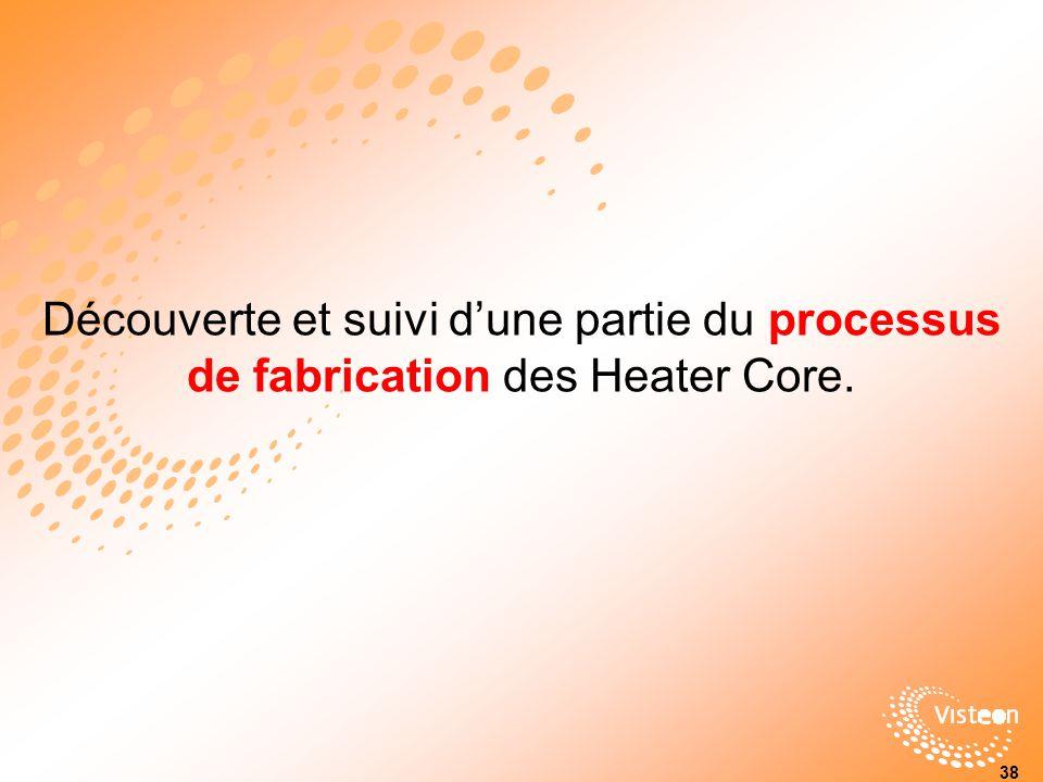 Découverte et suivi d'une partie du processus de fabrication des Heater Core.