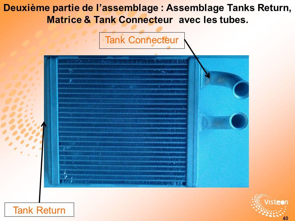 Deuxième partie de l'assemblage : Assemblage Tanks Return, Matrice & Tank Connecteur avec les tubes.