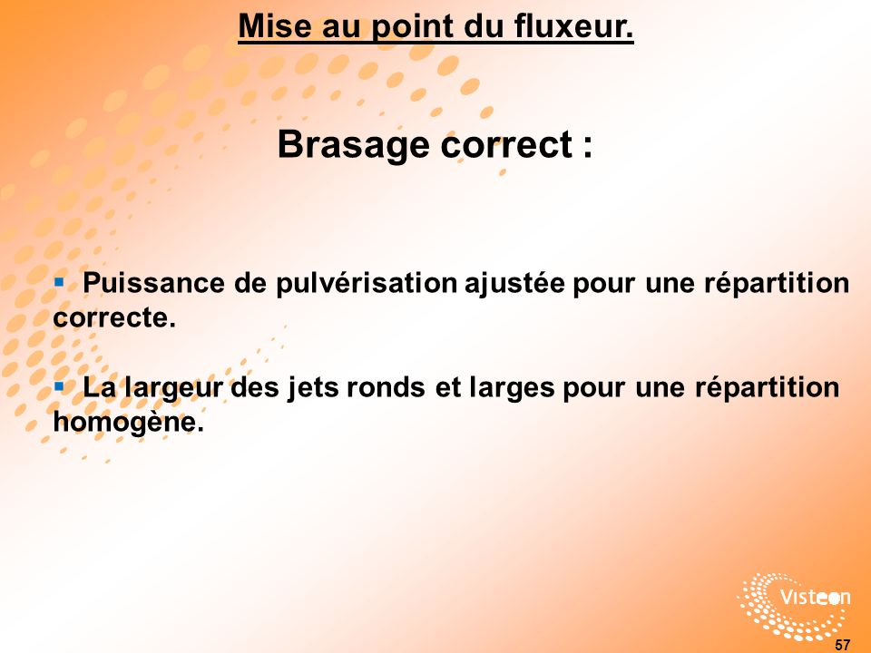Mise au point du fluxeur.