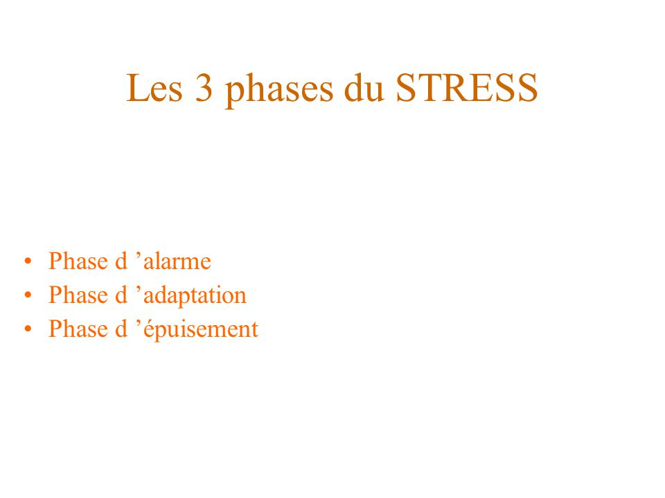 Les 3 phases du STRESS Phase d 'alarme Phase d 'adaptation