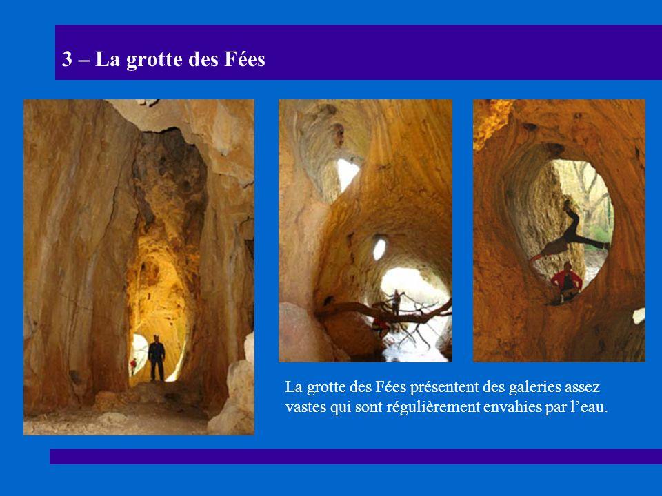 3 – La grotte des Fées La grotte des Fées présentent des galeries assez vastes qui sont régulièrement envahies par l'eau.