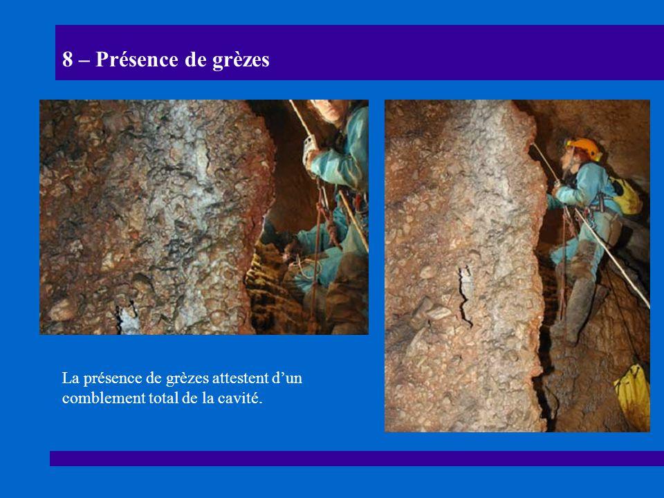 8 – Présence de grèzes La présence de grèzes attestent d'un comblement total de la cavité.