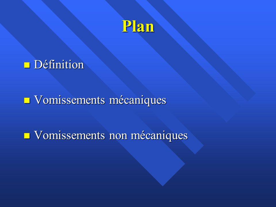 Plan Définition Vomissements mécaniques Vomissements non mécaniques