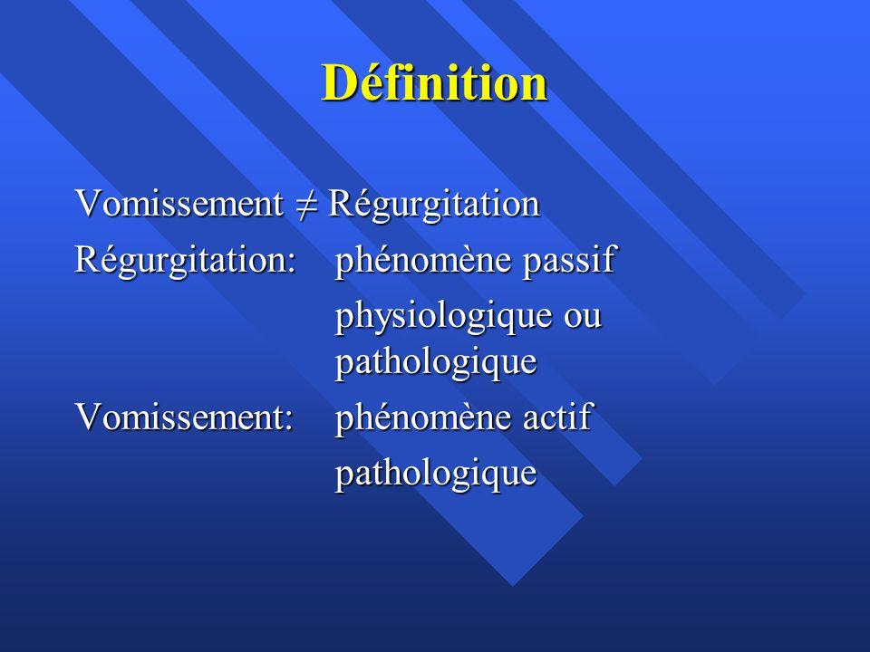 Définition Vomissement ≠ Régurgitation Régurgitation: phénomène passif