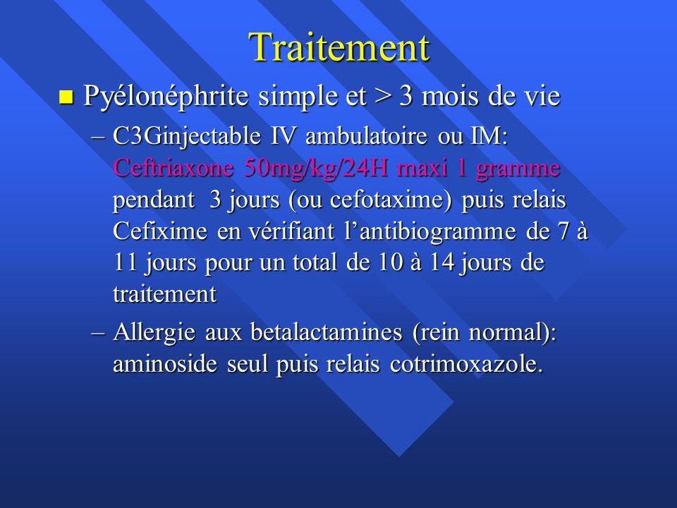 Traitement Pyélonéphrite simple et > 3 mois de vie