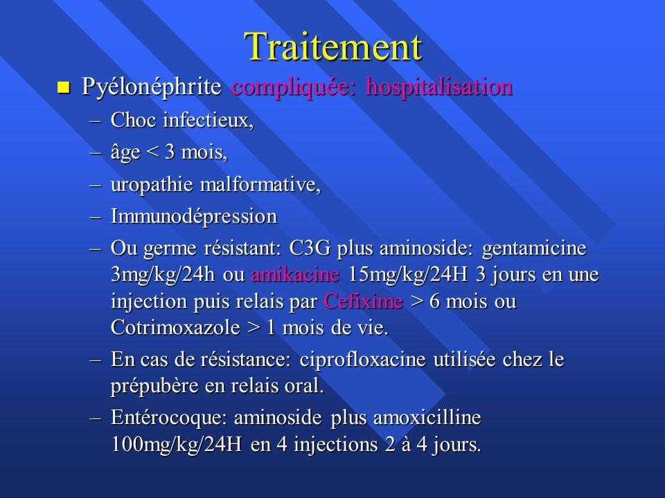 Traitement Pyélonéphrite compliquée: hospitalisation Choc infectieux,