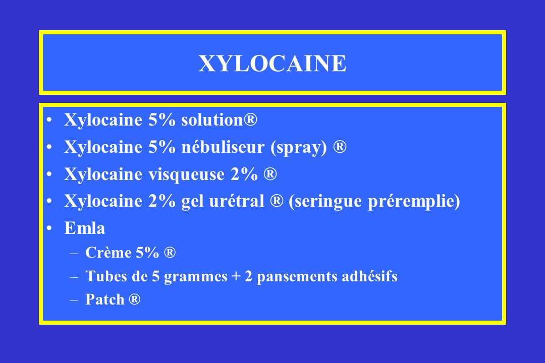 XYLOCAINE Xylocaine 5% solution® Xylocaine 5% nébuliseur (spray) ®