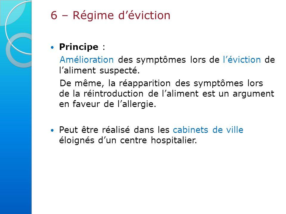 6 – Régime d'éviction Principe :