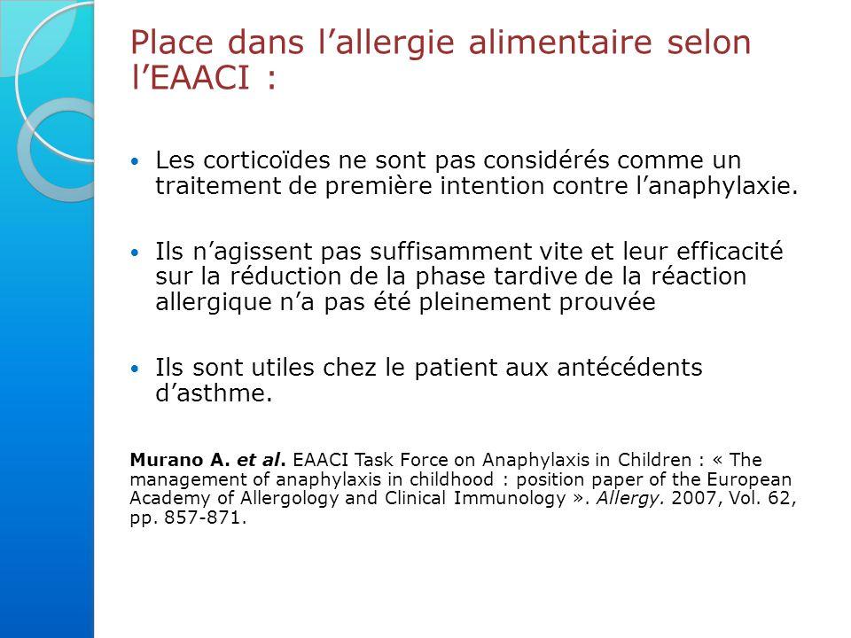 Place dans l'allergie alimentaire selon l'EAACI :