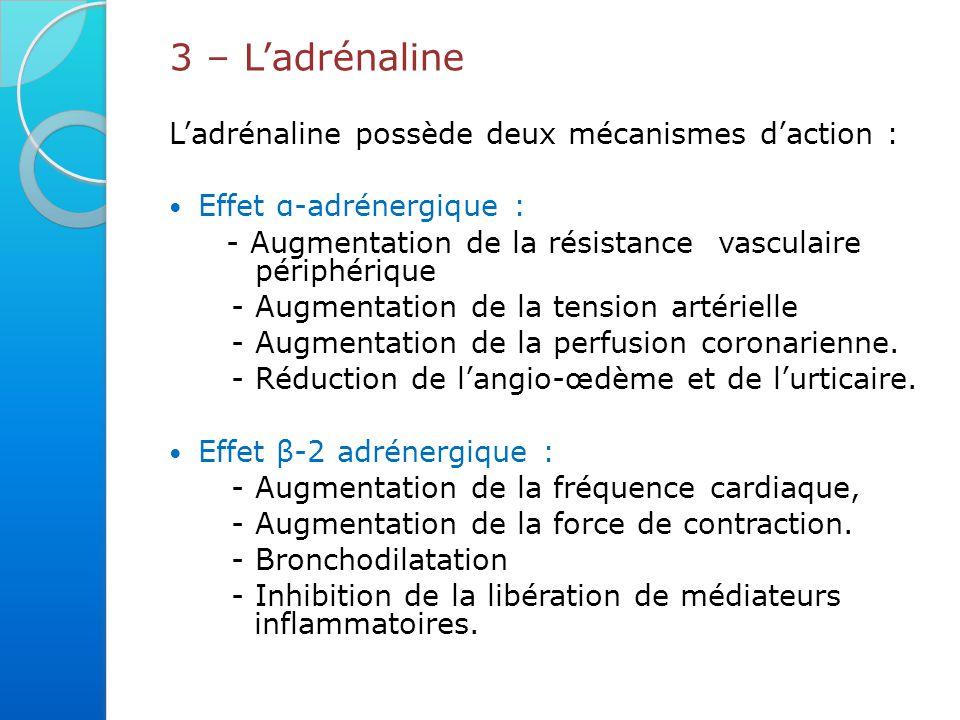 3 – L'adrénaline L'adrénaline possède deux mécanismes d'action :