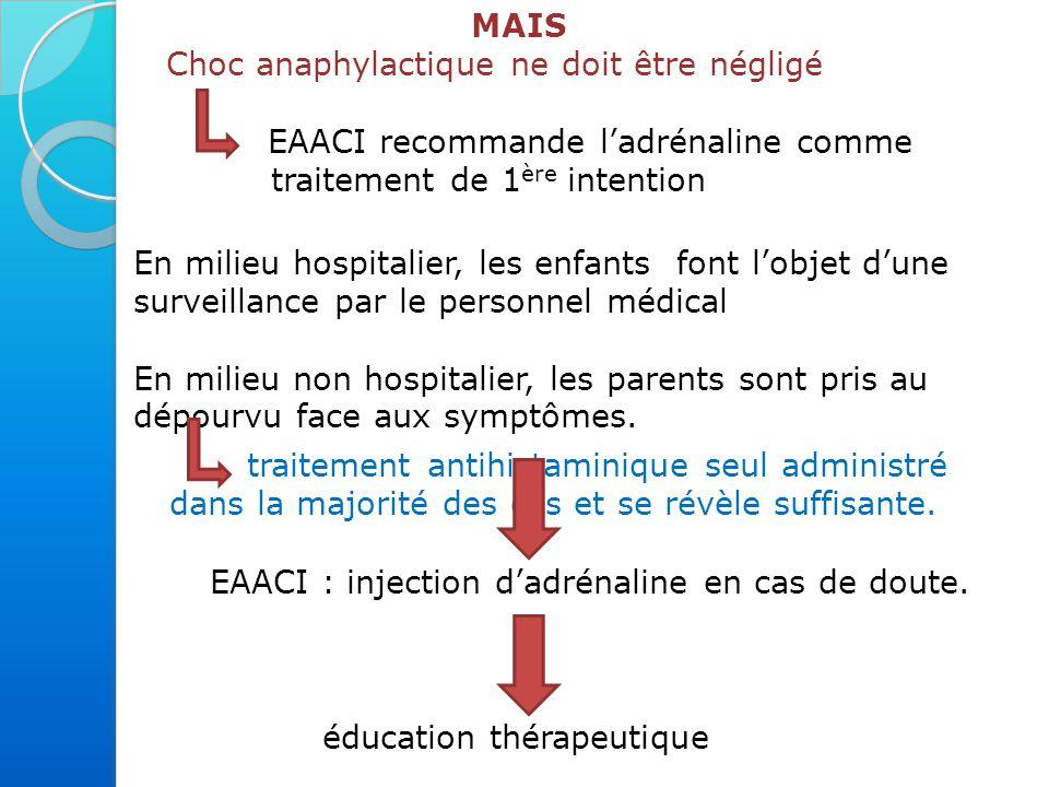 EAACI : injection d'adrénaline en cas de doute.