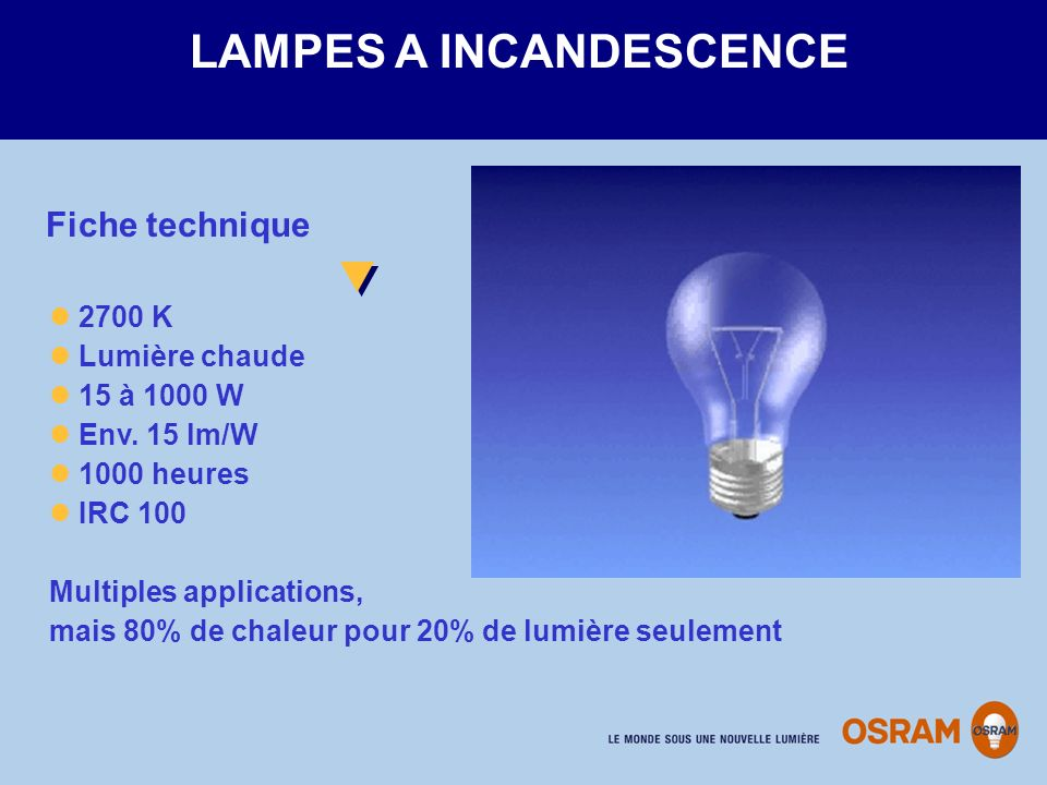 LAMPES A INCANDESCENCE