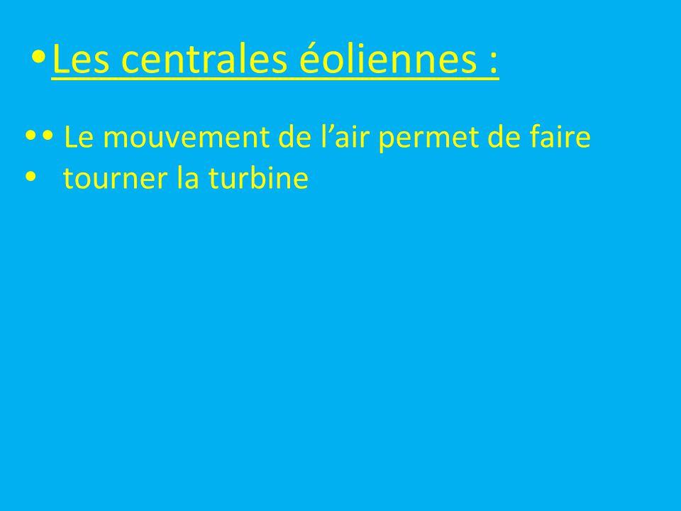 Les centrales éoliennes :