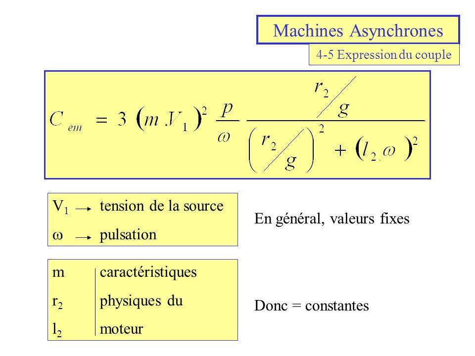 Machines Asynchrones V1 tension de la source w pulsation