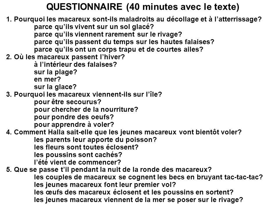 QUESTIONNAIRE (40 minutes avec le texte)