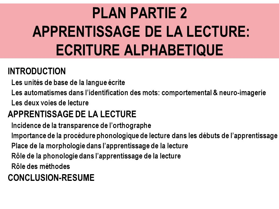 PLAN PARTIE 2 APPRENTISSAGE DE LA LECTURE: ECRITURE ALPHABETIQUE