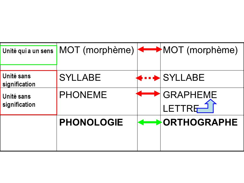 MOT (morphème) SYLLABE PHONEME GRAPHEME LETTRE PHONOLOGIE ORTHOGRAPHE