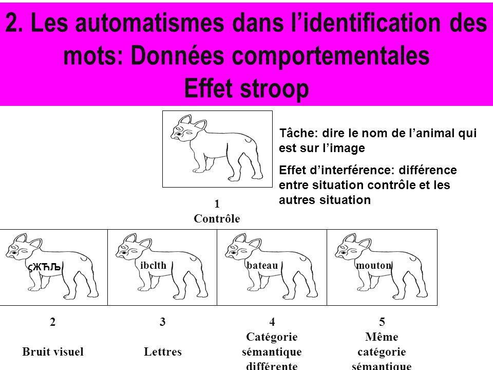 2. Les automatismes dans l'identification des mots: Données comportementales