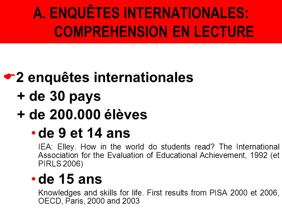 A. ENQUÊTES INTERNATIONALES: COMPREHENSION EN LECTURE