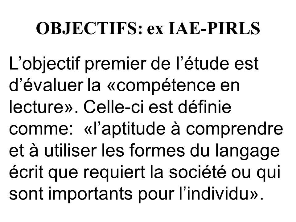 OBJECTIFS: ex IAE-PIRLS