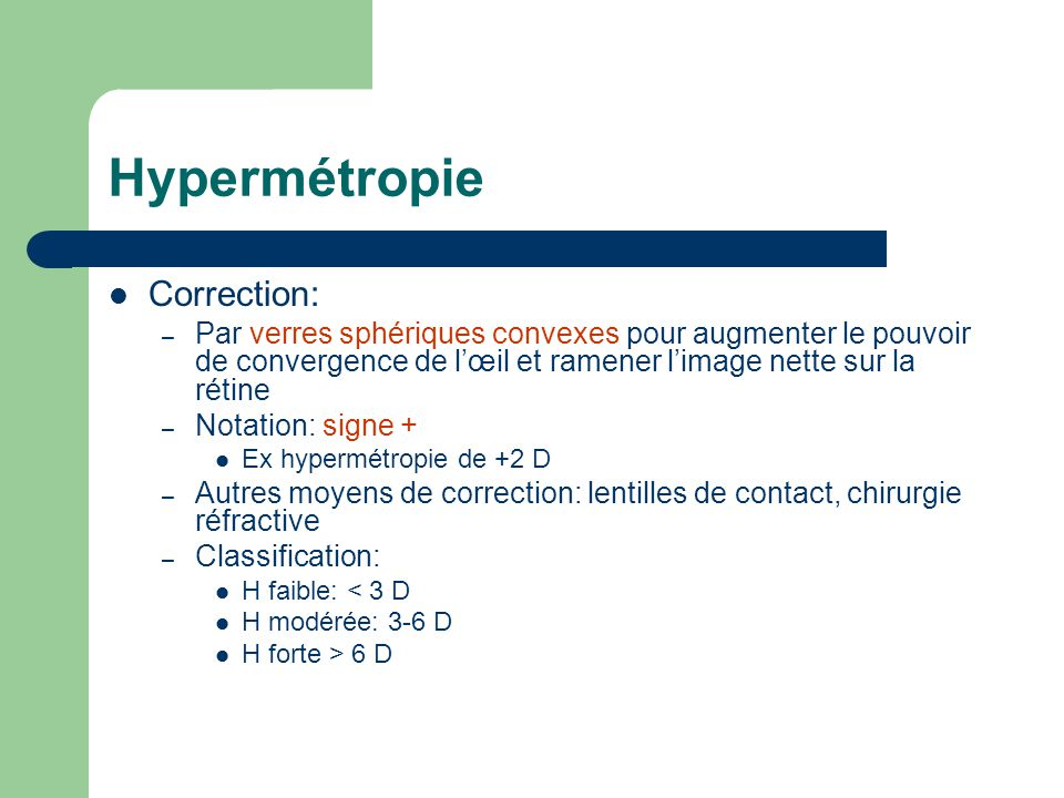 Hypermétropie Correction: