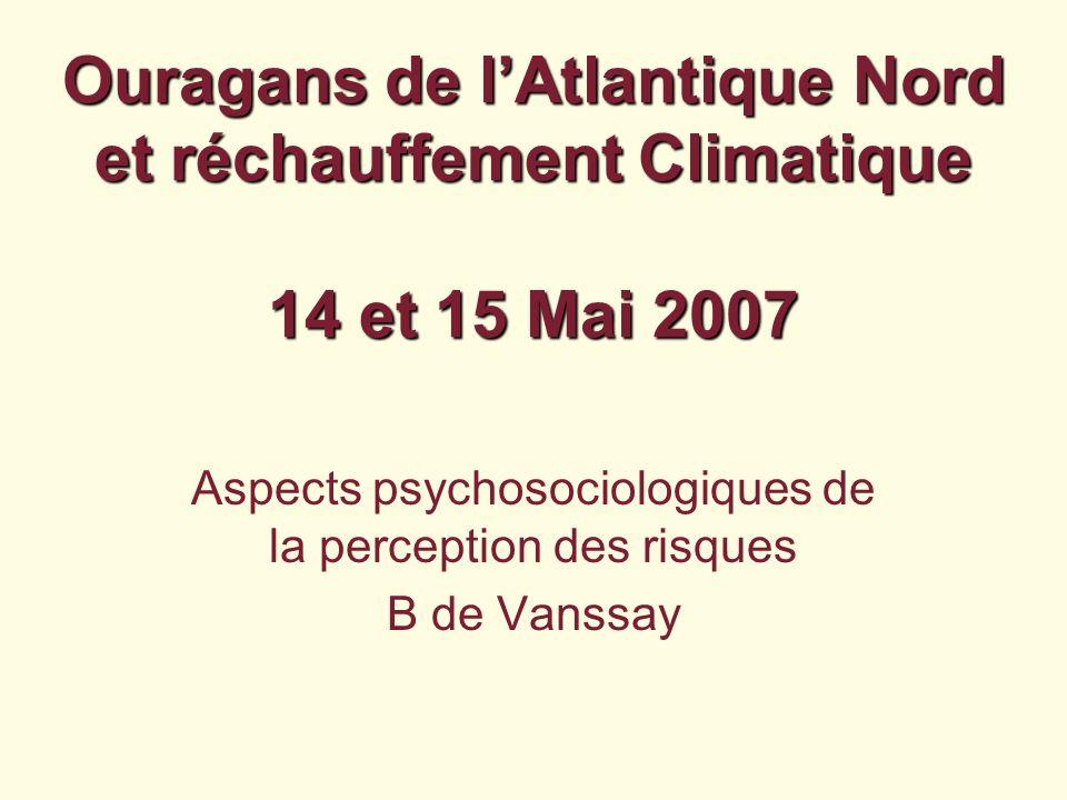 Aspects psychosociologiques de la perception des risques B de Vanssay