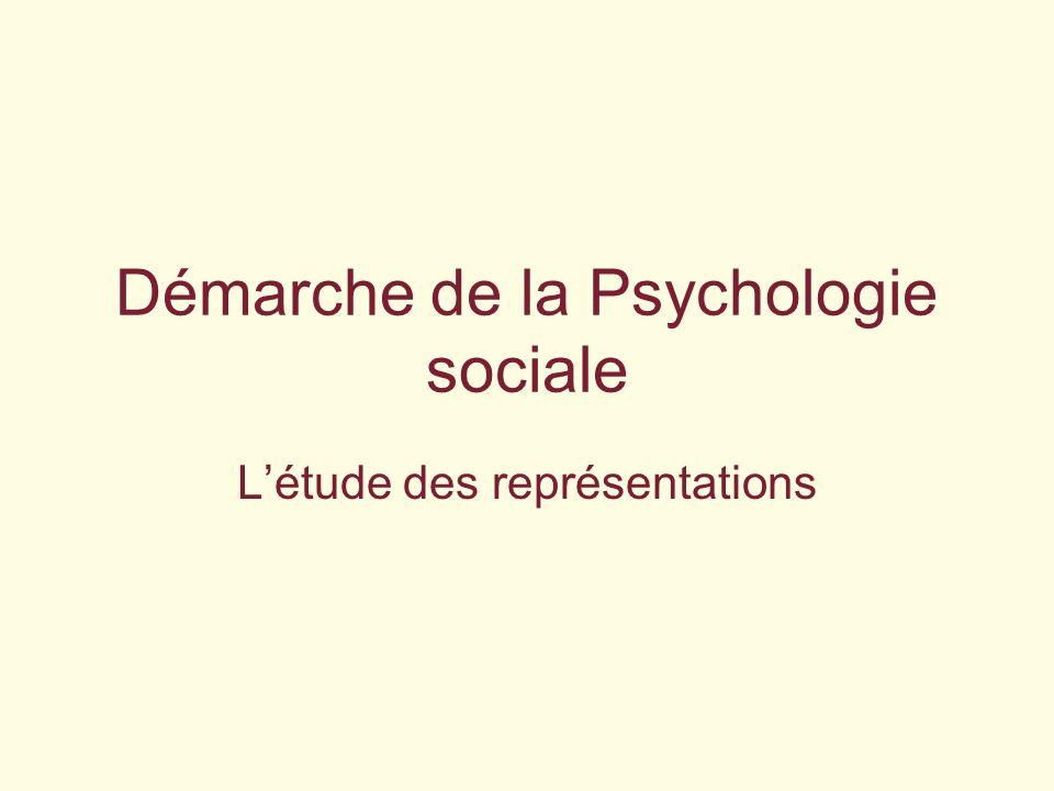 Démarche de la Psychologie sociale