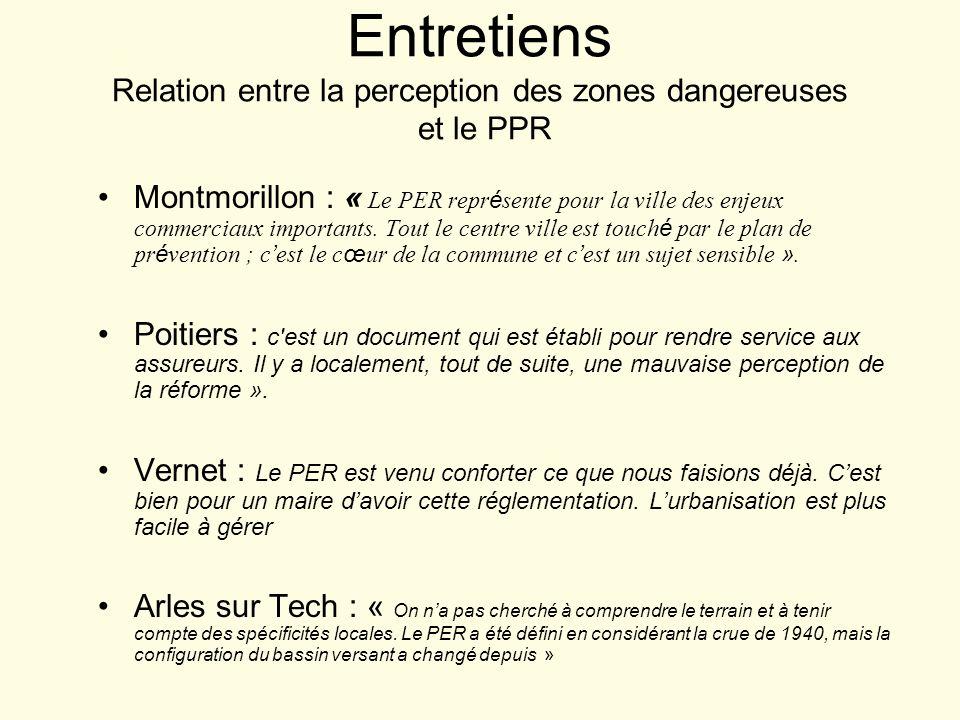 Entretiens Relation entre la perception des zones dangereuses et le PPR