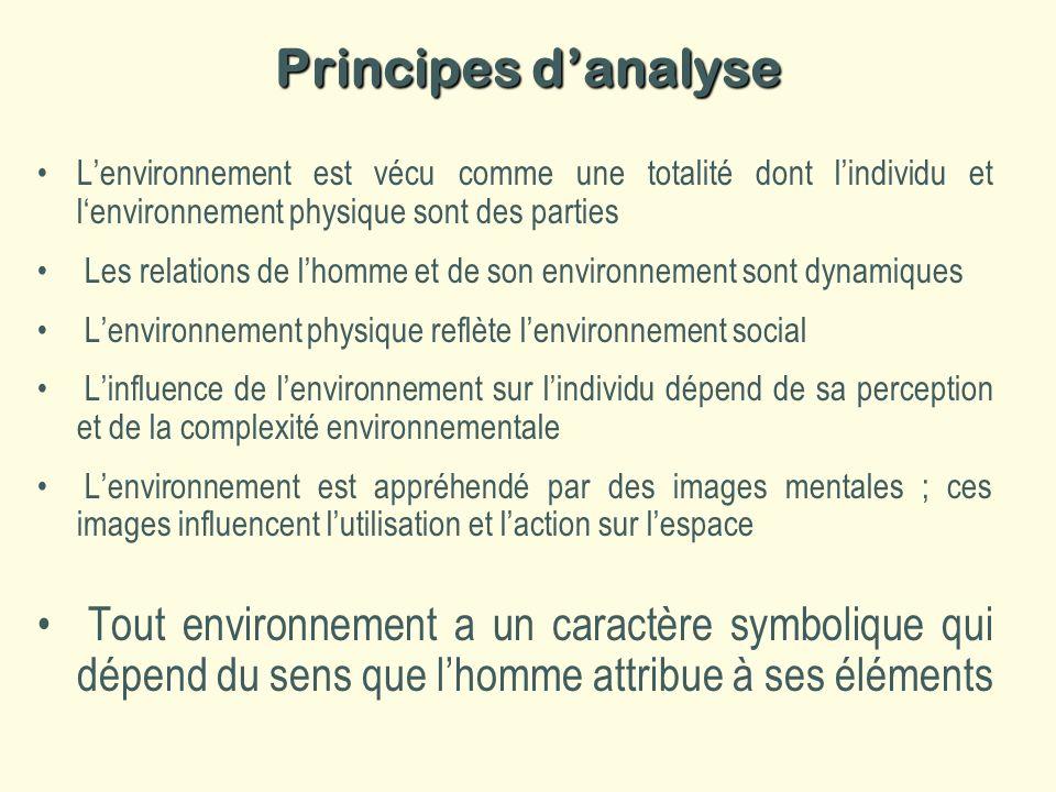 Principes d'analyse L'environnement est vécu comme une totalité dont l'individu et l'environnement physique sont des parties.