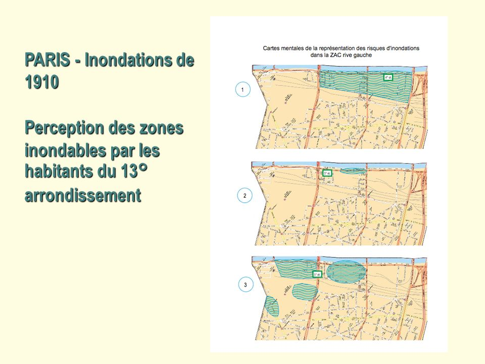 PARIS - Inondations de 1910 Perception des zones inondables par les habitants du 13° arrondissement