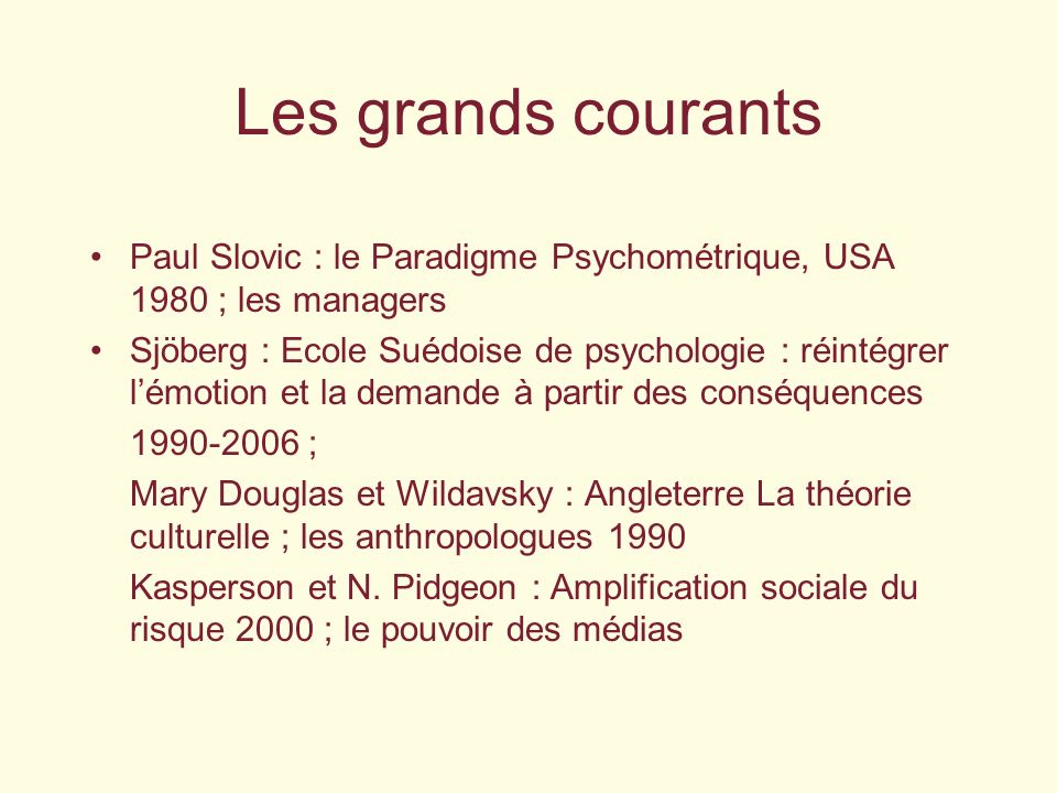 Les grands courants Paul Slovic : le Paradigme Psychométrique, USA 1980 ; les managers.