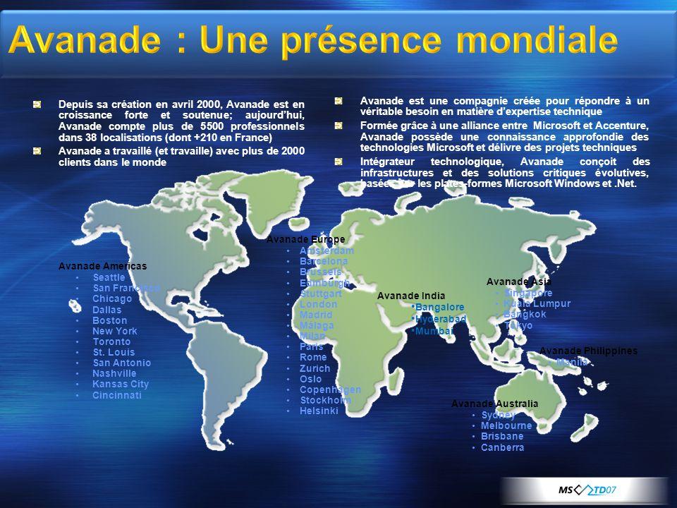 Avanade : Une présence mondiale