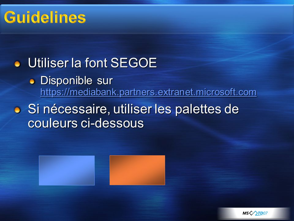 Guidelines Utiliser la font SEGOE