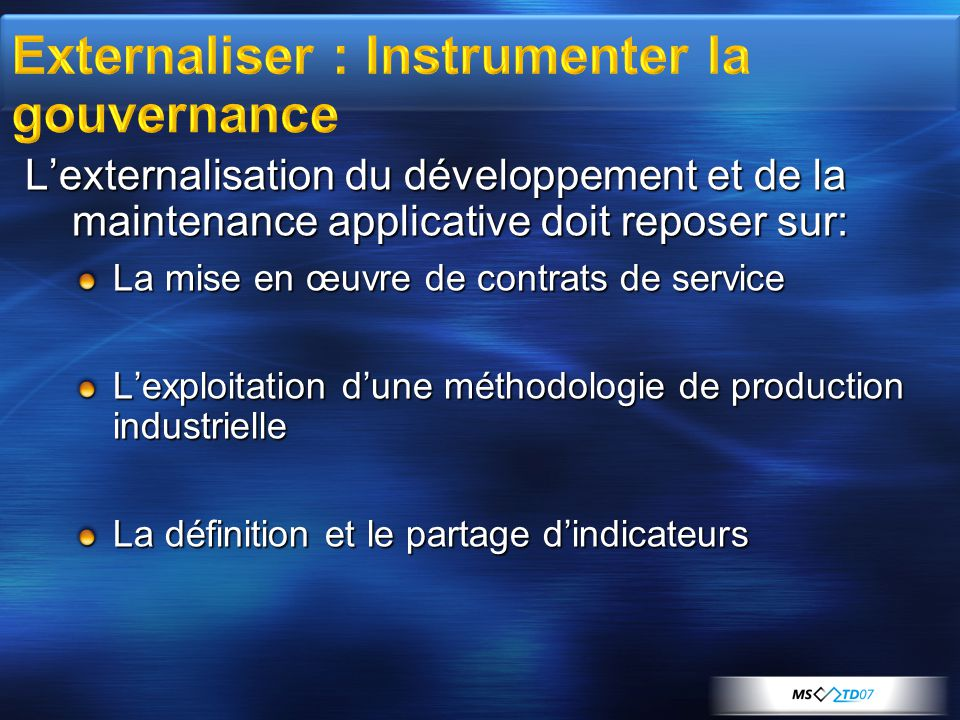 Externaliser : Instrumenter la gouvernance