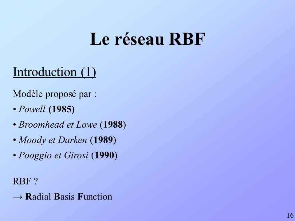 Le réseau RBF Introduction (1) Modèle proposé par : Powell (1985)