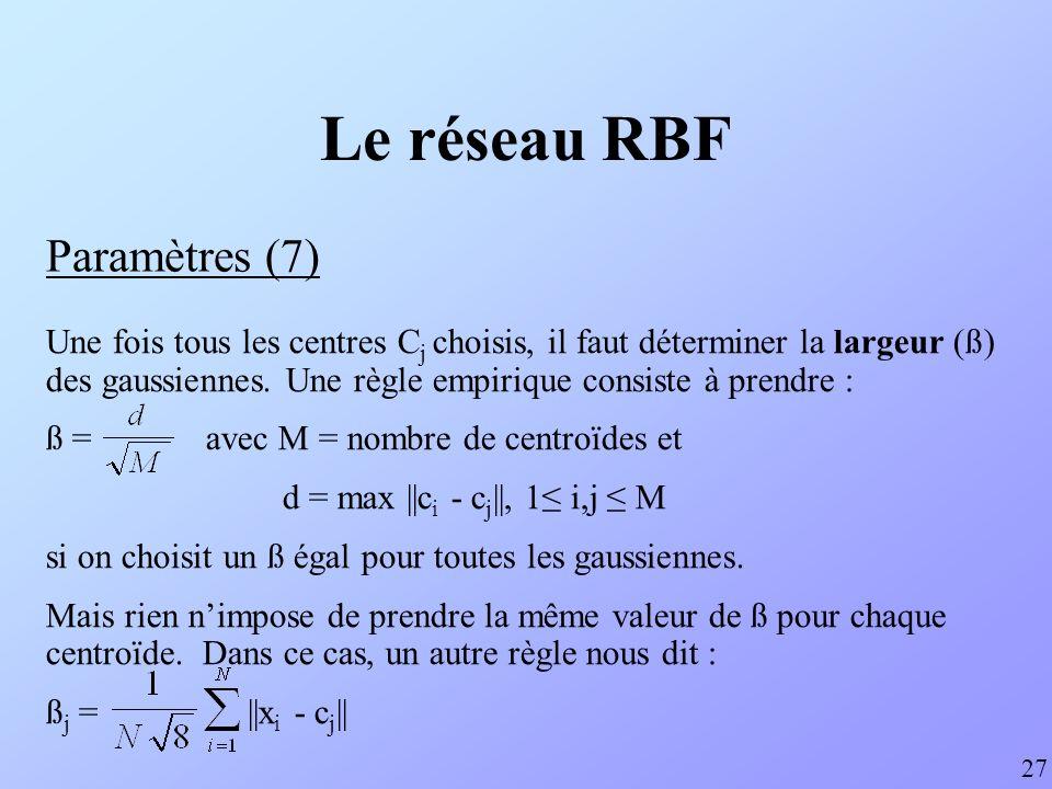 Le réseau RBF Paramètres (7)