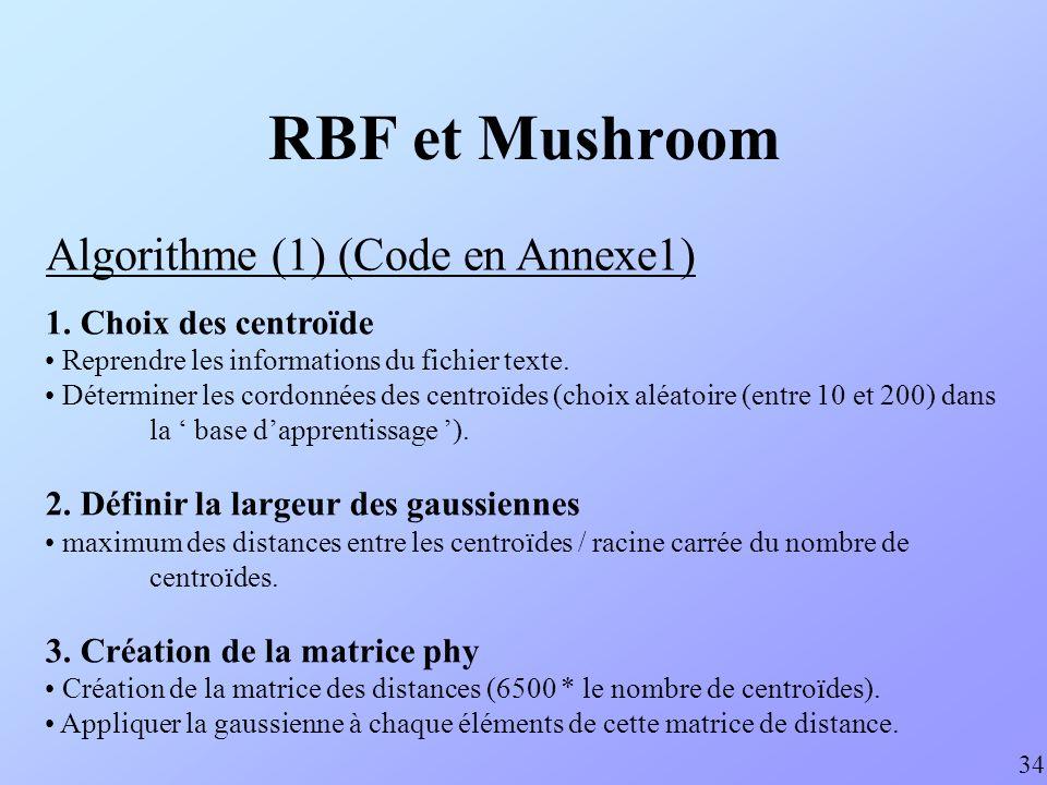RBF et Mushroom Algorithme (1) (Code en Annexe1)