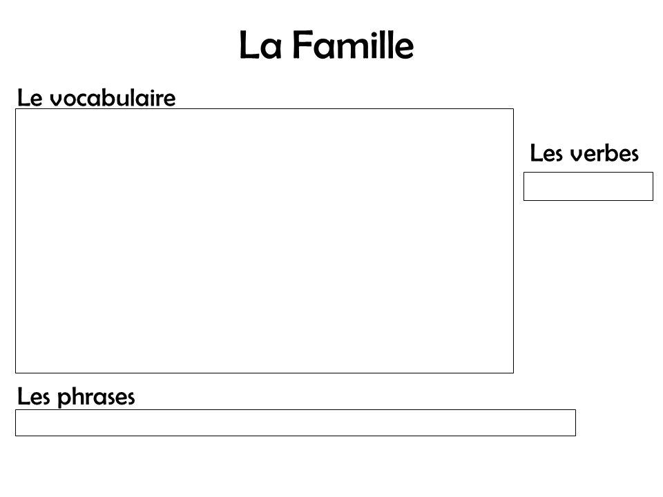 La Famille Le vocabulaire Les verbes Les phrases