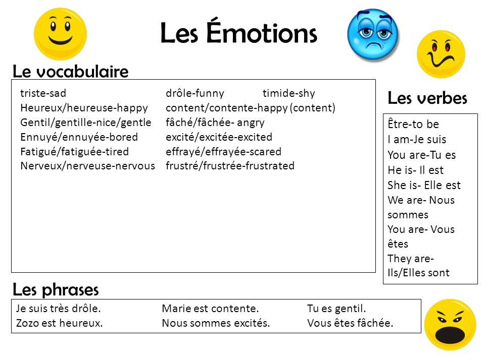 Les Émotions Le vocabulaire Les verbes Les phrases Être-to be
