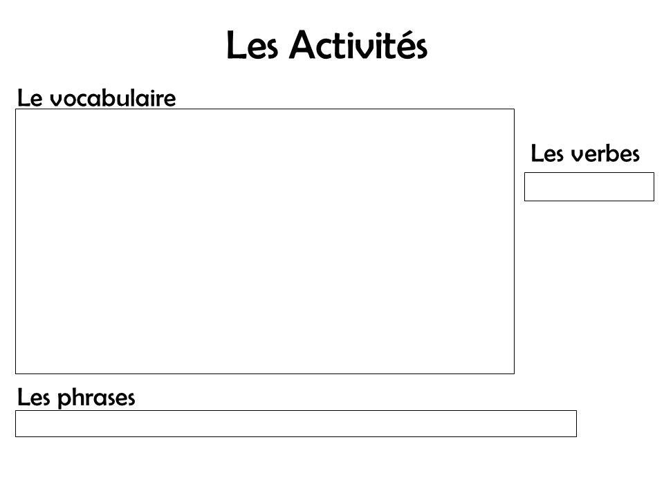 Les Activités Le vocabulaire Les verbes Les phrases