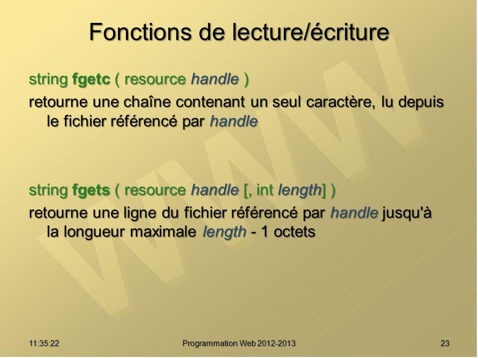 Fonctions de lecture/écriture