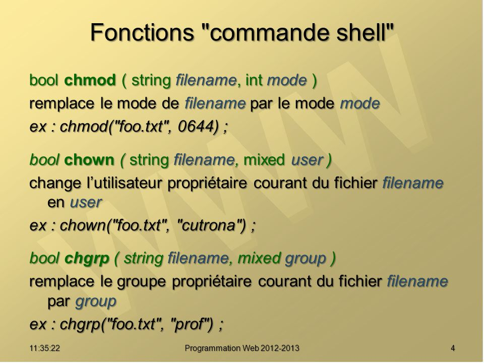Fonctions commande shell