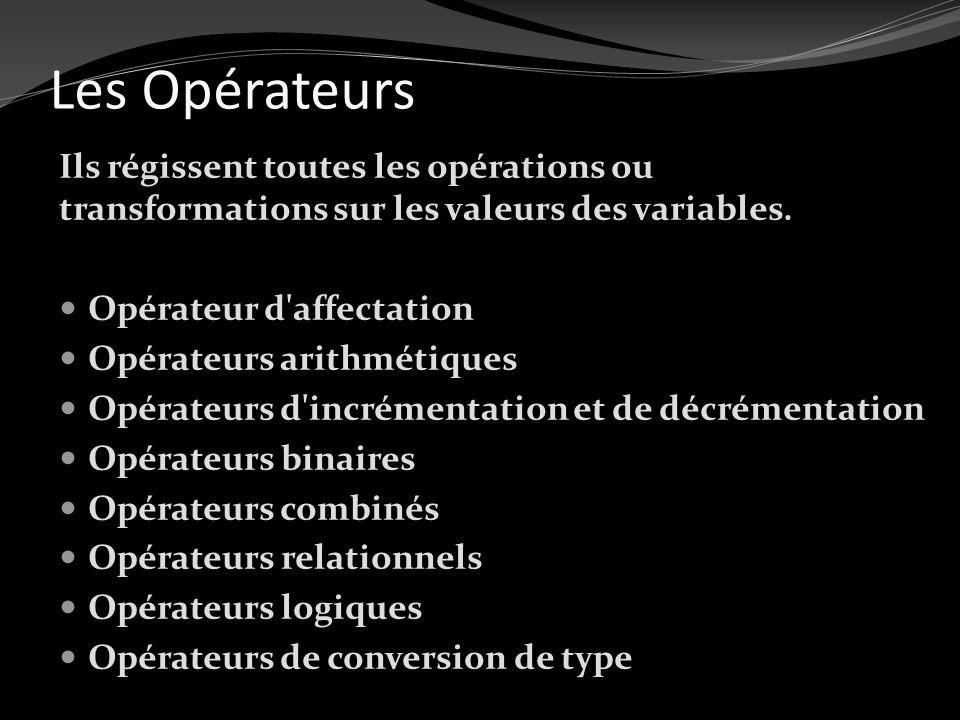 Les Opérateurs Ils régissent toutes les opérations ou transformations sur les valeurs des variables.